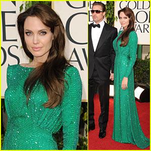 Angelina Jolie - Golden Globes 2011 Red Carpet with Brad Pitt!