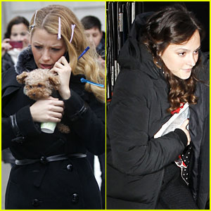 Blake Lively & Leighton Meester: Snowy Set for 'Gossip Girl'