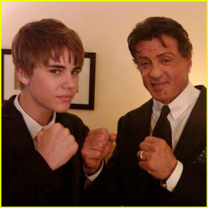 Justin Bieber & Sylvester Stallone Put 'Em Up - EXCLUSIVE