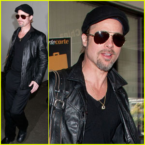 Brad Pitt: Leather LAX Landing