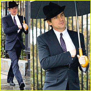 Matt Bomer: Rainy Day on 'White Collar' Set