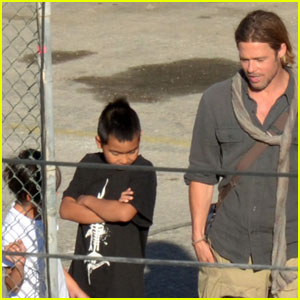 Brad Pitt: 'World War Z' Visit from Maddox & Pax!