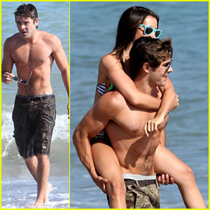Zac Efron: Shirtless Piggyback Ride for Ashley Tisdale!