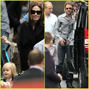 Angelina Jolie & Brad Pitt: Train Station with the Kids!