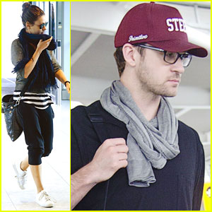 Mila Kunis & Justin Timberlake Head Home from Heathrow