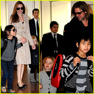 Angelina Jolie & Brad Pitt: Tokyo Airport Arrival with the Kids!
