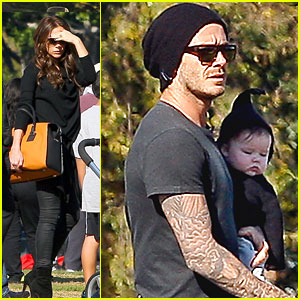 David Beckham & Harper Snuggle at a Soccer Game