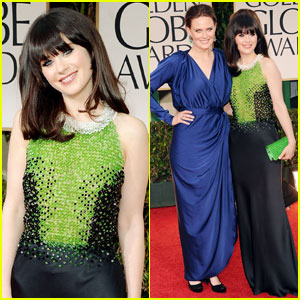 Emily & Zooey Deschanel - Golden Globes 2012 Red Carpet
