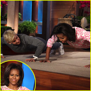 Michelle Obama: Push Up Contest With Ellen DeGeneres!