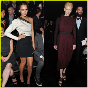 Jessica Alba & Tilda Swinton: Front Row at Lanvin!