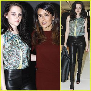 Kristen Stewart: Balenciaga Presentation with Salma Hayek!