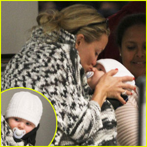 Kate Hudson Kisses Baby Bingham at LAX