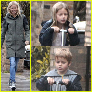 Gwyneth Paltrow & Kids: Scooting in the Rain!