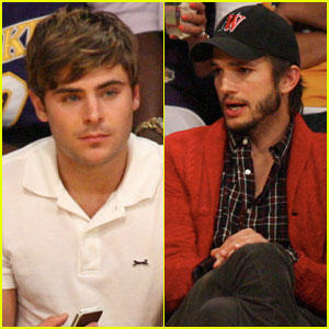 Zac Efron: Lakers Courtside with Ashton Kutcher