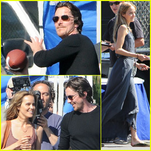 Christian Bale &#038; Isabel Lucas: Lunch Break on 'Cups' Set