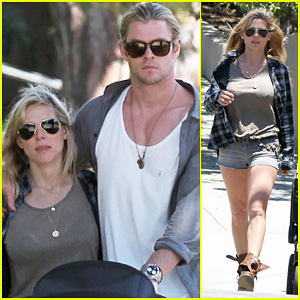 Chris Hemsworth & Elsa Pataky: Santa Monica Stroll with Baby India!