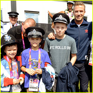 David Beckham & His Boys Meet Olympics Police & Guards