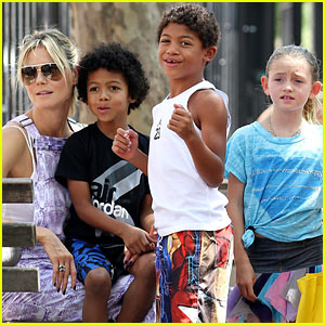 Heidi Klum and her kids, Johan , Henry , and Leni , enjoy the sunny
