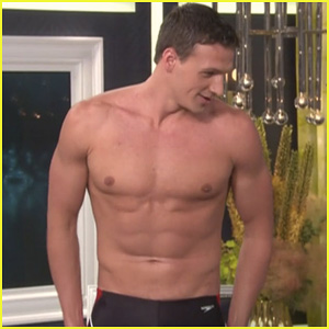 Ryan lochte goes shirtless and strips down to his speedo while making