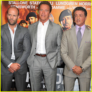 Arnold Schwarzenegger , Sylvester Stallone , and Jason Statham suit up