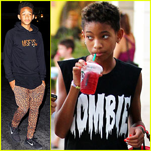 Willow Smith Grabs Starbucks, Jaden Smith Rocks Leopard Pants