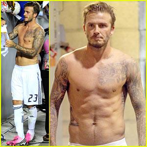 David Beckham: Shirtless Galaxy Game!