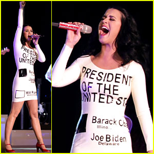 Katy Perry: Voting Ballot Dress at Obama Rally!