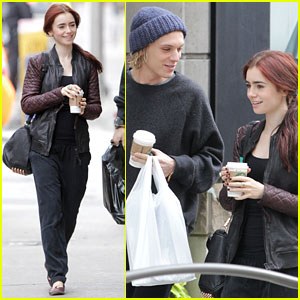 Lily Collins: Morning Coffee with Jamie Campbell Bower!