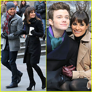 Lea Michele & Chris Colfer: Photo Moment on 'Glee Set'