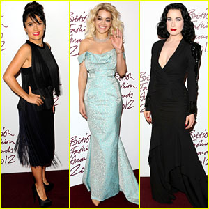 Salma Hayek & Rita Ora: British Fashion Awards 2012