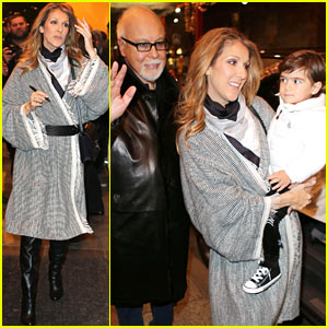 Celine Dion: George V Hotel Exit with the Family