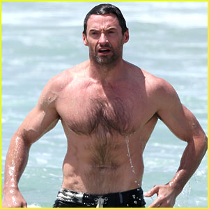 Hugh Jackman: Shirtless Stud at Bondi Beach!