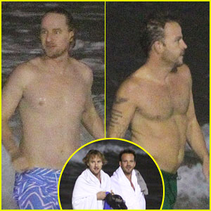 Owen Wilson & Stephen Dorff: Shirtless Beach Buddies!