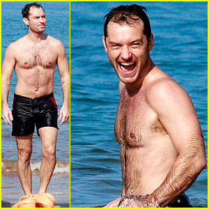 Jude Law: Shirtless Hawaiian Body-Boarding!