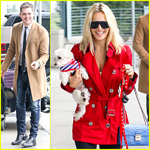 Michael Buble & Luisana Lopilato: YVR Airport Departure with Pet Pooch Simon!