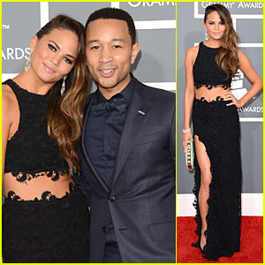 Chrissy Teigen & John Legend - Grammys 2013 Red Carpet