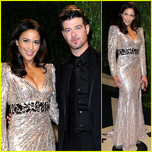 Paula Patton &#038; Robin Thicke - Vanity Fair Oscars Party 2013