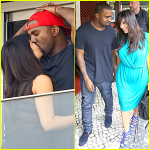 Pregnant Kim Kardashian &#038; Kanye West: Kisses in Rio!