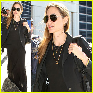 Angelina Jolie Lands in Los Angeles After Congo Trip