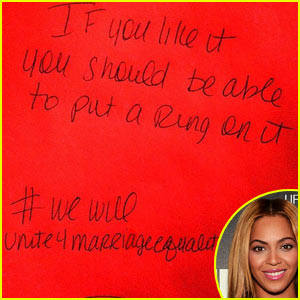 Beyonce Supports Marriage Equality with Handwritten Note
