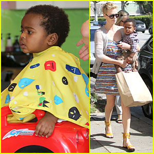 Charlize Theron: Haircut Stop with Jackson!