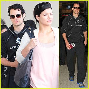 Henry Cavill & Gina Carano: Legendary LAX Landing!