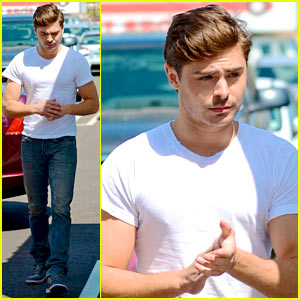 Zac Efron: Tight White T-Shirt on 'Townies' Set!
