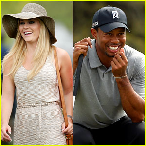 Lindsey Vonn Cheers On Tiger Woods at Masters Tournament
