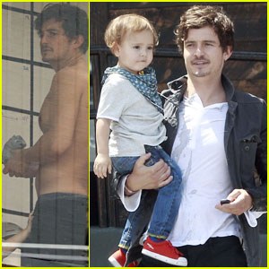 Orlando Bloom: Shirtless Clothes Fitting With Flynn