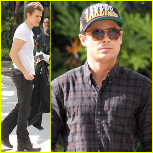 Zac Efron & Paul Wesley: Lakers Game Guys