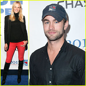 Anne V & Chace Crawford: New York Rangers NHL Playoff Game!