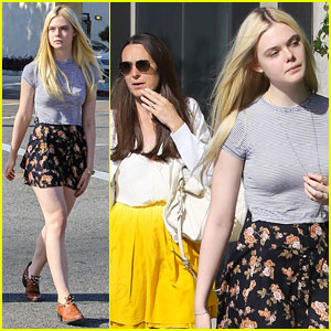 Elle Fanning Shops with Her Mom in We