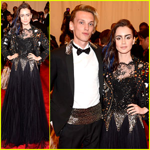 Lily Collins & Jamie Campbell Bower - Met Ball 2013 Red Carpet