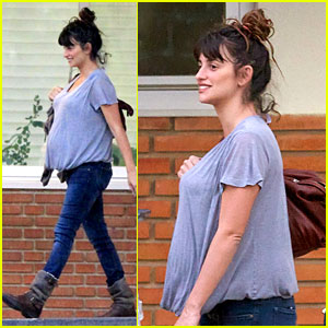 Penelope Cruz Shows Large Baby Bump with Family
